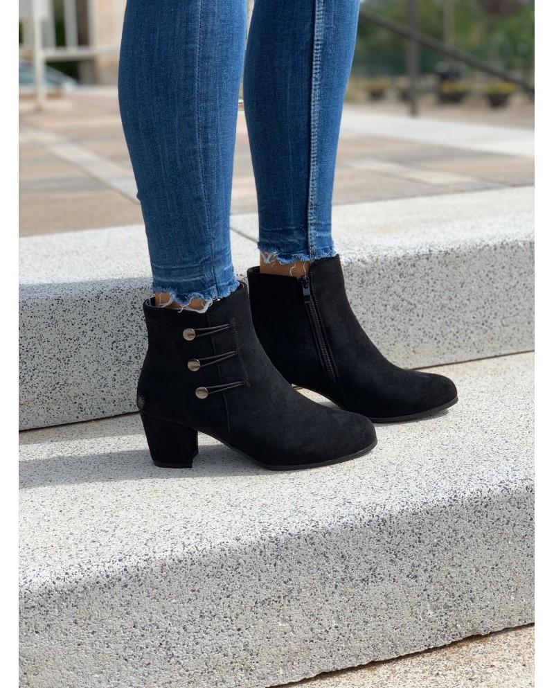 Botines de mujer color negro con cierre de cremallera