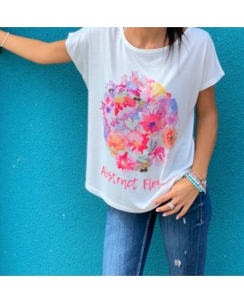 Camiseta de tirantes con dibujo de flores abstract