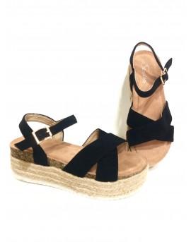 Sandàlies amb plataforma color negre d'espart