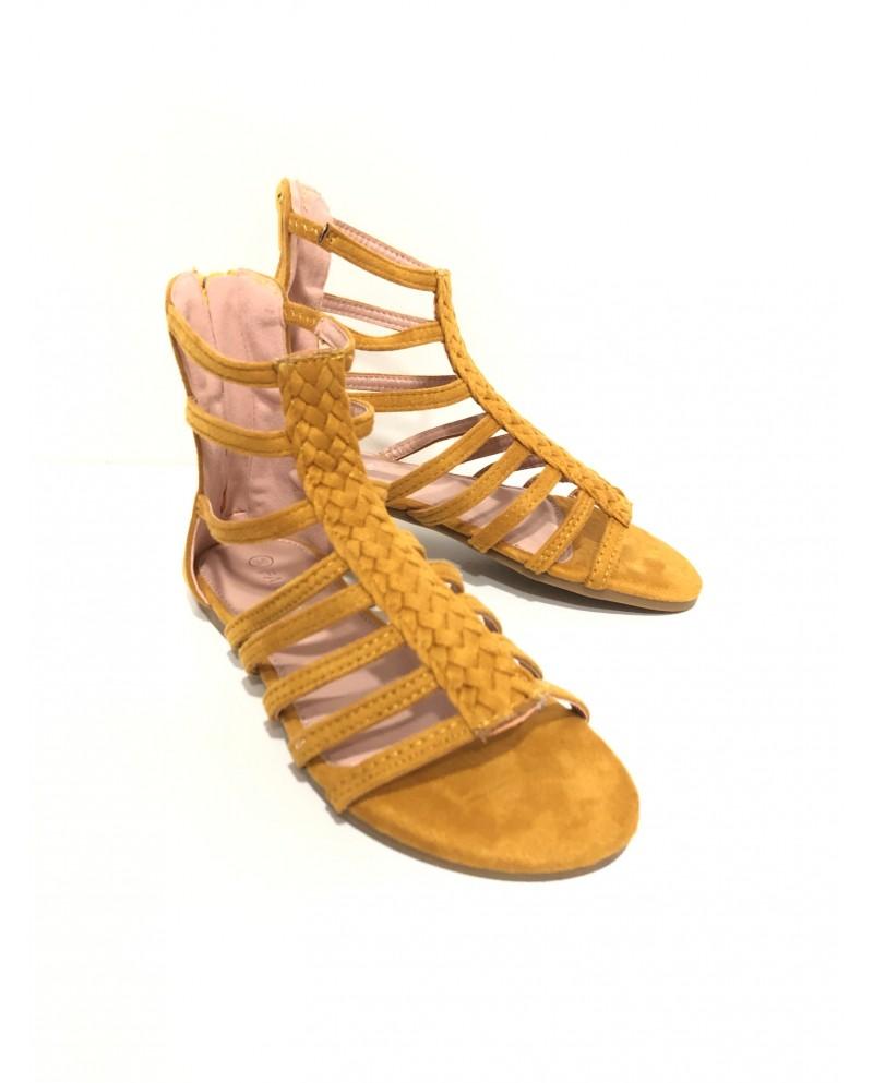 Sandalias verano color amarillo ocre