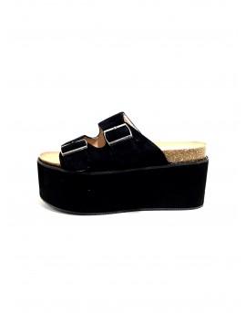 Sandalias plataforma negras con cierre hebilla