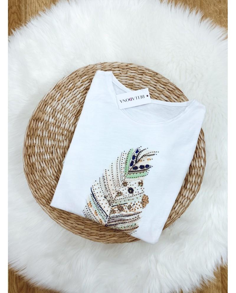 camiseta estampado pluma para mujer